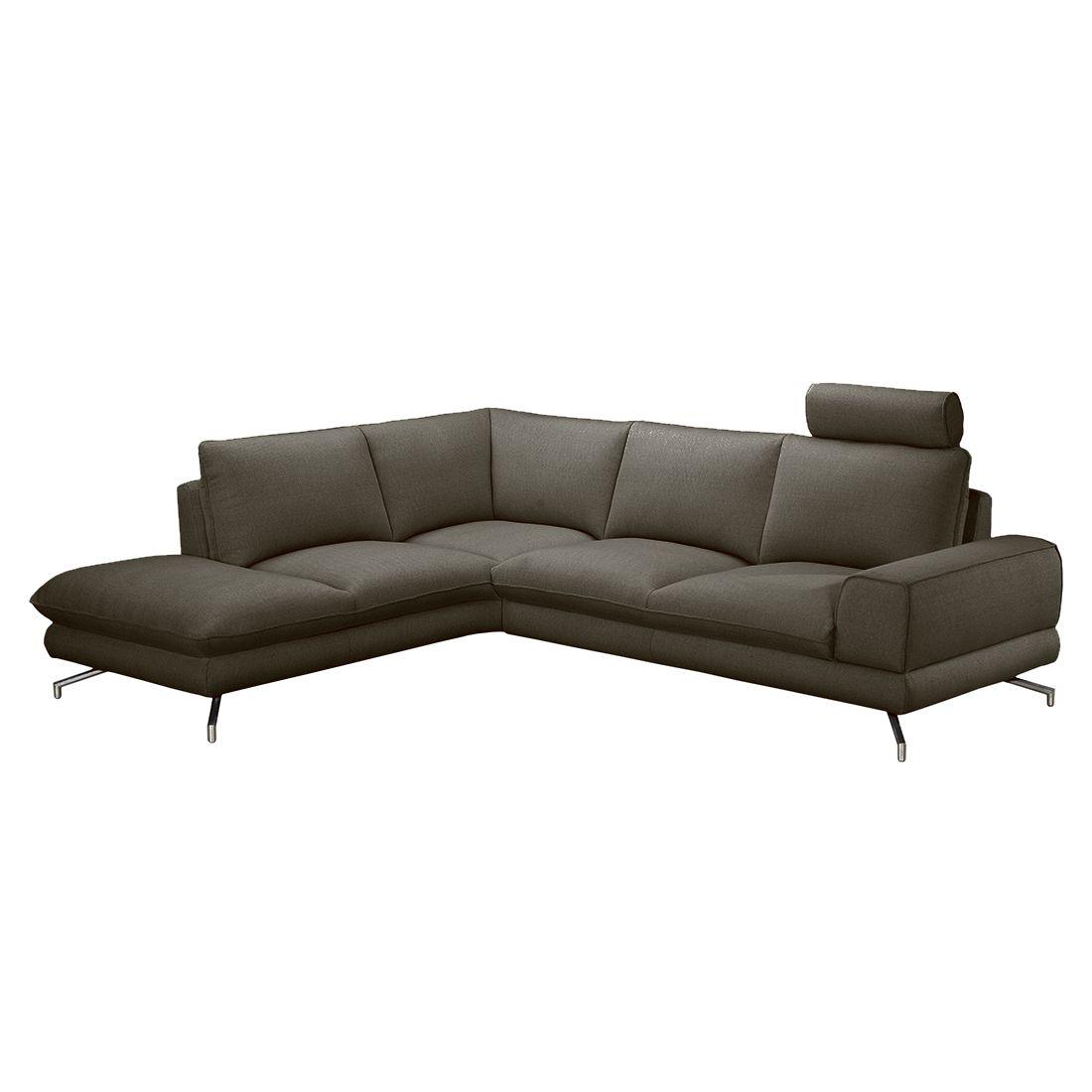ecksofa lennard strukturstoff grau braun ottomane davorstehend links moebel. Black Bedroom Furniture Sets. Home Design Ideas
