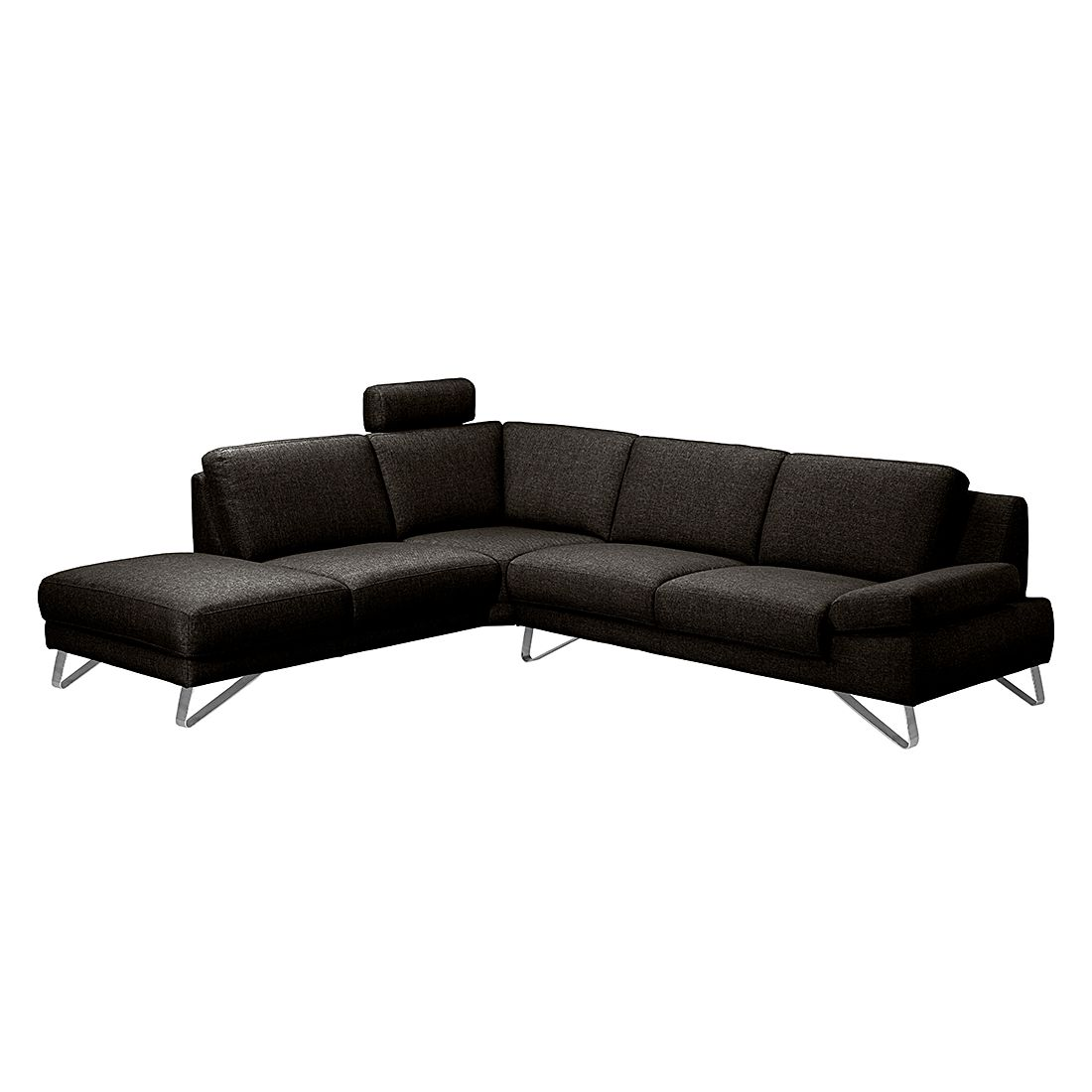 ecksofa silvano webstoff braun schwarz ottomane davorstehend links mit 1 kopfst tze. Black Bedroom Furniture Sets. Home Design Ideas