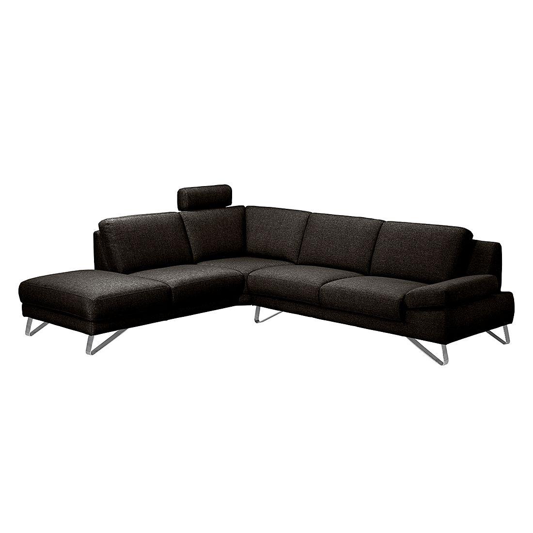 ecksofa silvano webstoff braun schwarz ottomane davorstehend links mit 1 kopfst tze. Black Bedroom Furniture Sets. Home Design Ideas