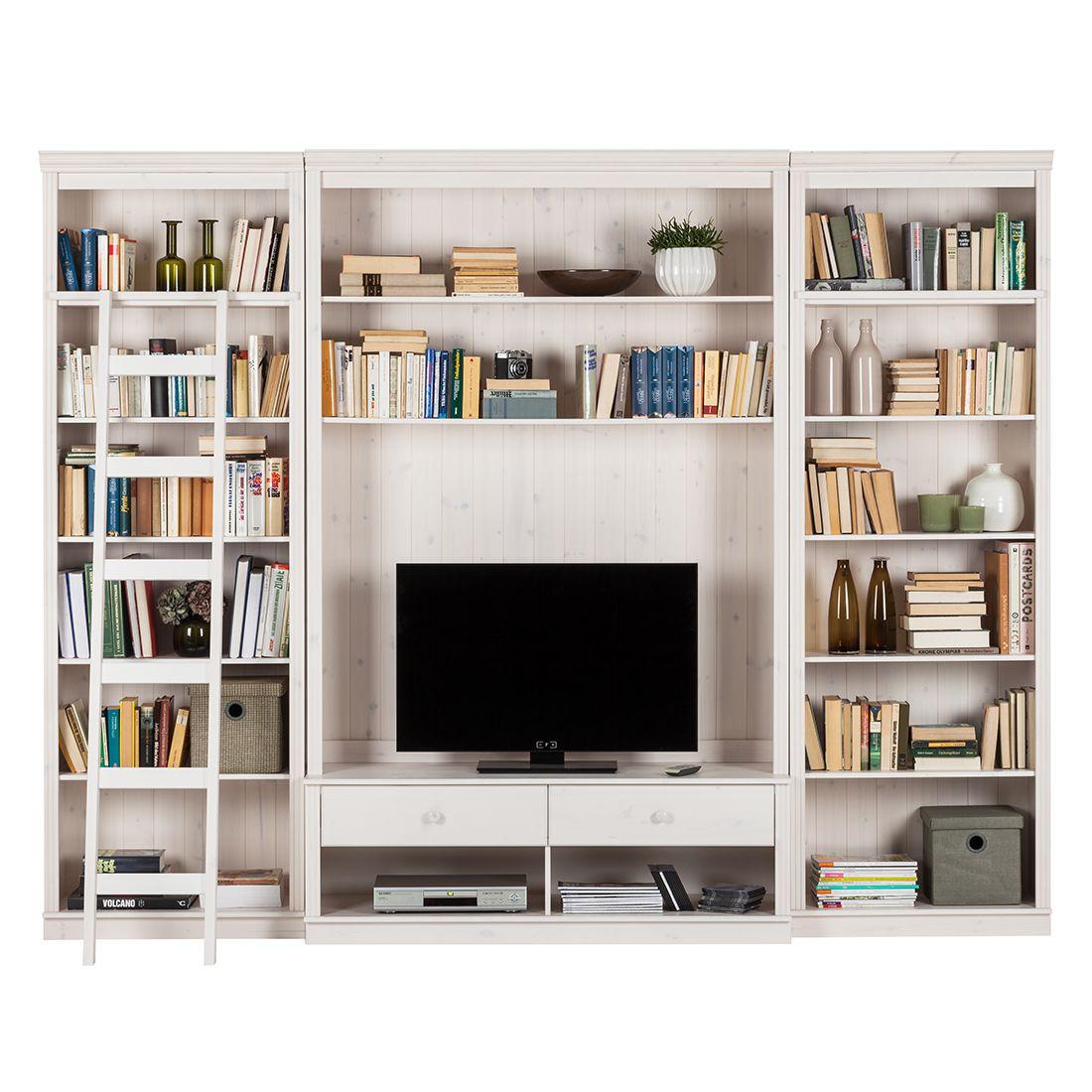 wohnwand lillehammer i 3 teilig kiefer massiv kiefer wei moebel. Black Bedroom Furniture Sets. Home Design Ideas