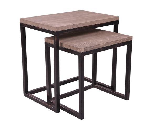 2er set industrial beistelltisch aus kiefernholz moebel. Black Bedroom Furniture Sets. Home Design Ideas